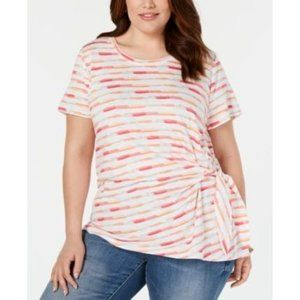 Style & Co Spring Refresh Brush Multicolor Top 2X